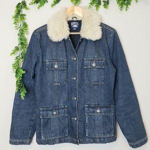 Vintage Roots Faux Fur Collarded Denim Jacket
